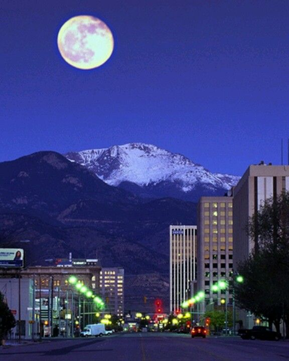 Visiting Colorado Springs: Down Town Colorado Springs With Pikes Peak In The