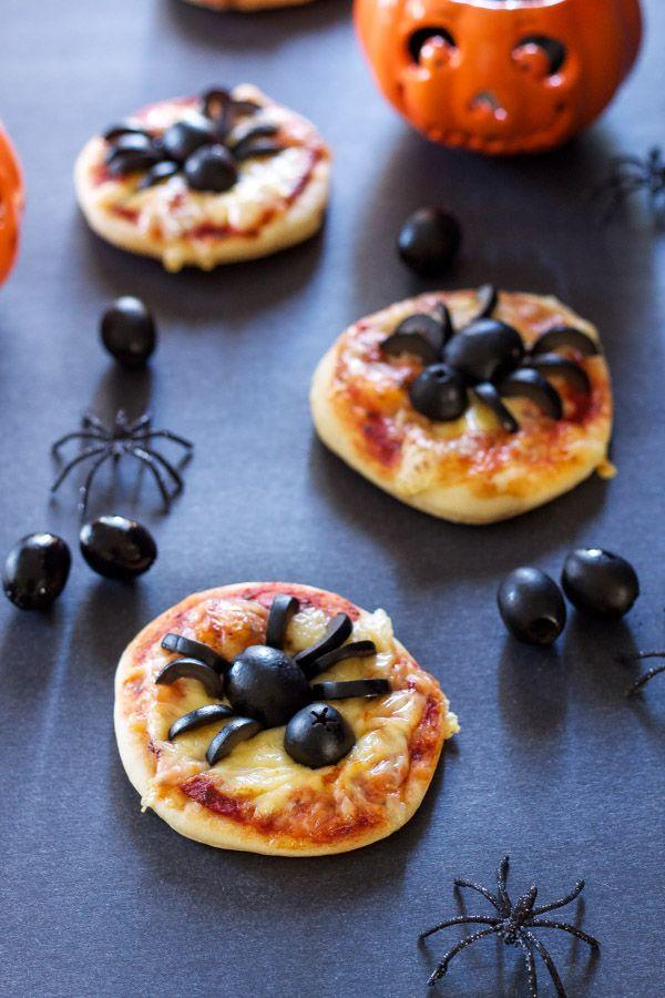 Mini Spider Pizzas Recipe Runner Spooky fun mini pizzas using - cheap halloween food ideas