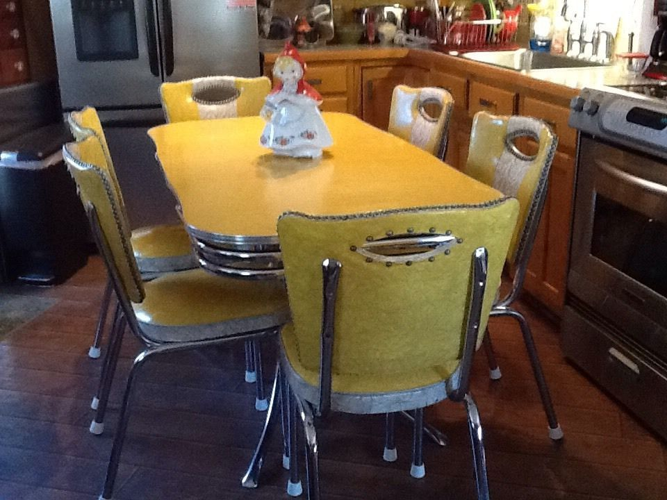 Vintage Yellow Chrome and Formica Spartan Table and 6 ...