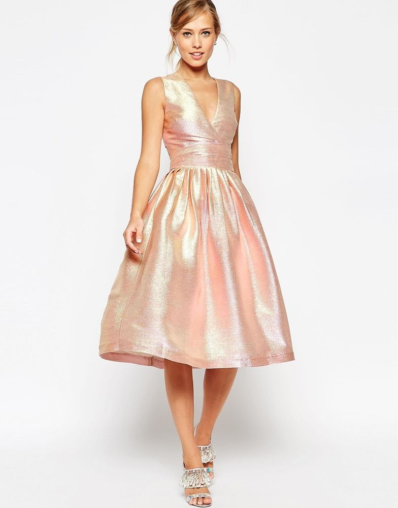 ASOS SALON Holographic Shimmer Midi Prom Skater Party Dress UK 18/EU ...