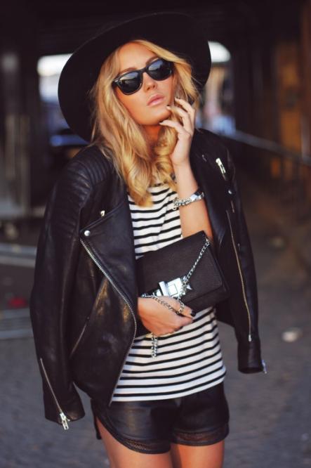 Angelica Blick. Swedish. Blog. Women. Fashion. Black & White. Stripes. Leather Jacket. Simple. Blond. Beautiful. Sunglasse. Silver Details. Light. Summer.