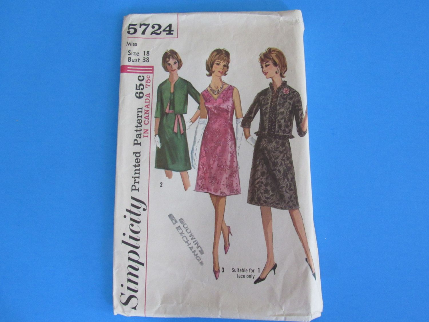 Vintage  Simplicity 1964 Dress and Jacket Pattern 5724 Size 18 Bust 38 by mariehotdeals on Etsy