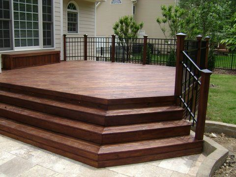 Beautiful Beautiful Pressure Treated Wood Deck With Aluminum Rail And Travertine  Stone Patio In Charlotte By
