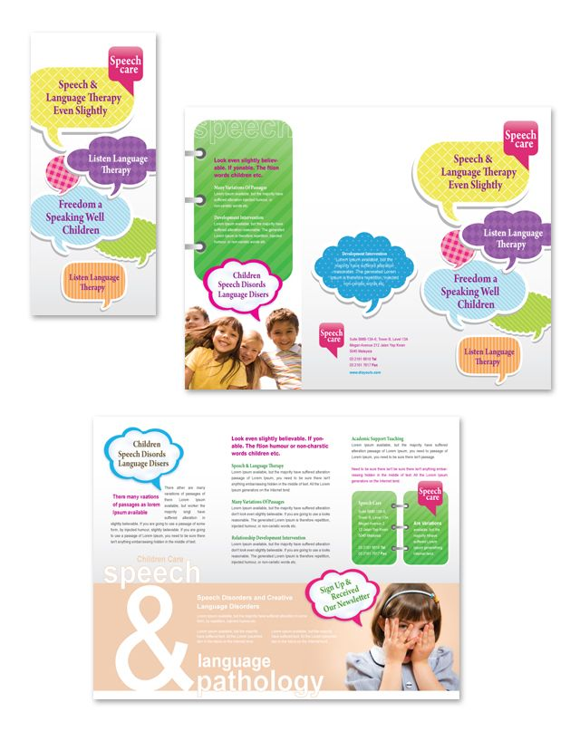 Speech \ Language Pathology Tri Fold Brochure Template    www - Daycare Flyer Template