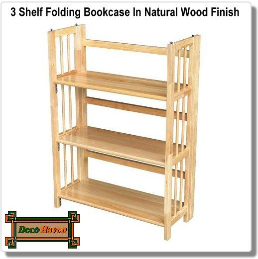 3 shelf folding bookcase in natural wood finish 3 Shelf Folding Bookcase In Natural Wood Finish in 2018 | Interior  3 shelf folding bookcase in natural wood finish