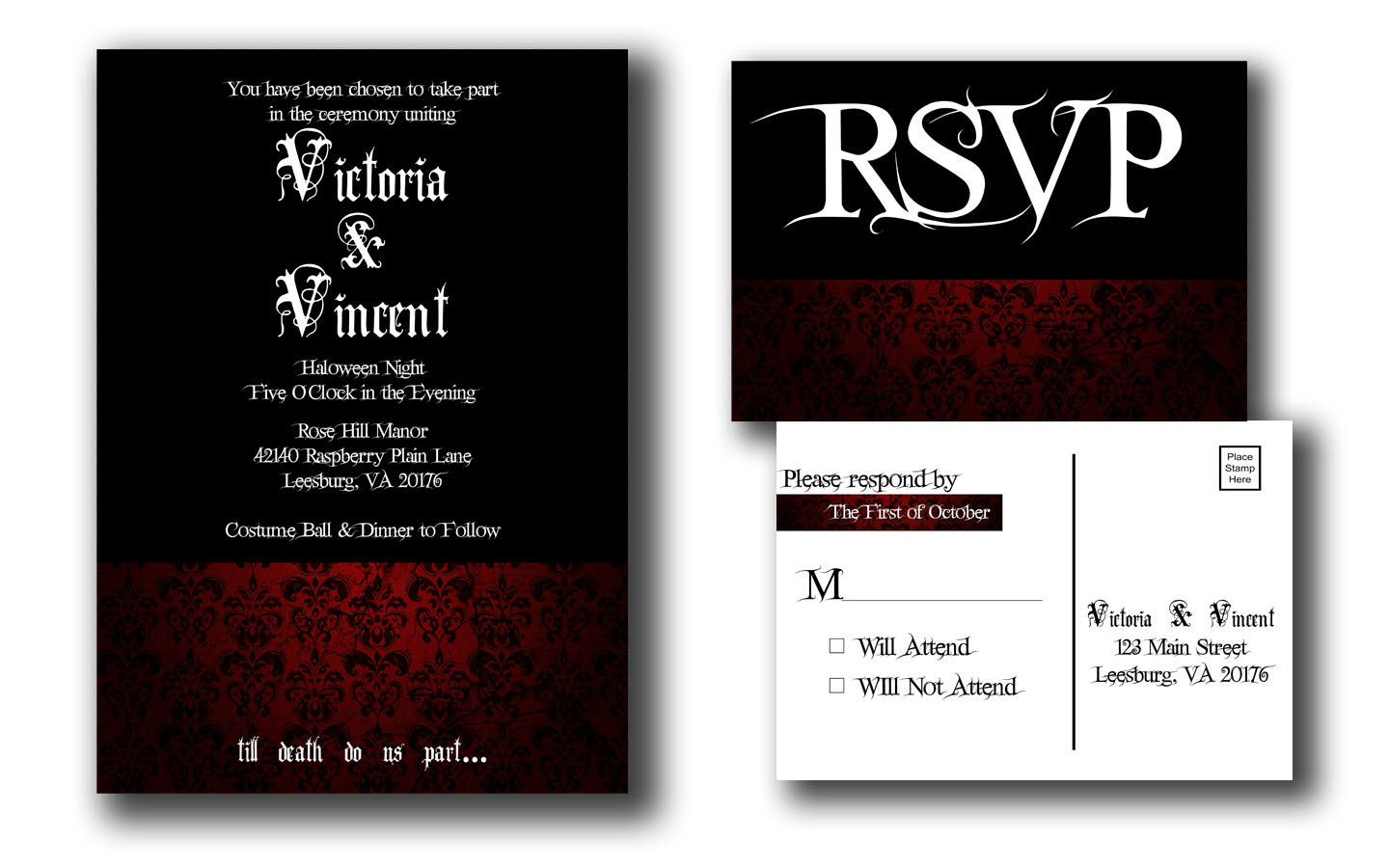 Gothic Till Death Do Us Part Damask Wedding Invitation Set Made to Order Goth Wedding Horror Wedding Halloween Wedding Dark Wedding by lunabstudio on Etsy https://www.etsy.com/listing/189366405/gothic-till-death-do-us-part-damask