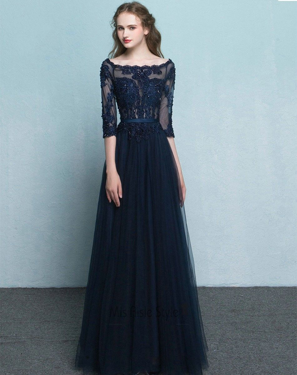 Full length long sleeves navy blue tulle and lace prom dress
