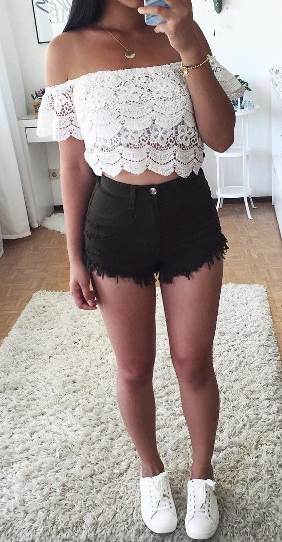 105d8339fc7 summer outfits White Off The Shoulder Lace Crop + Black Denim Short + White  Sneakers