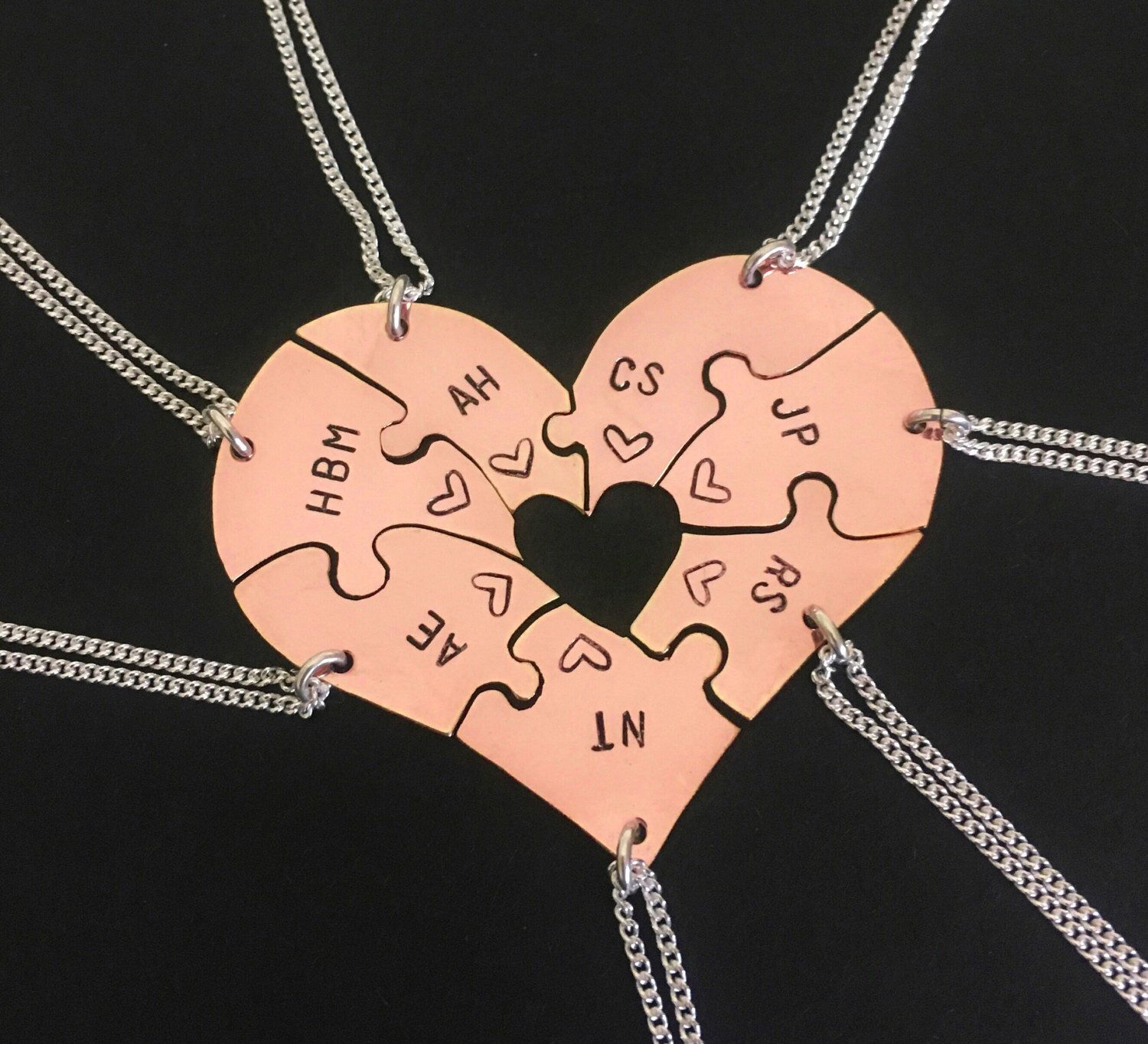 14 Karat Rose Gold Engraved Heart Puzzle Necklaces Shaped Like A Heart Perfect For 7 Friendship Family Friend Jewelry Friend Necklaces Best Friend Jewelry