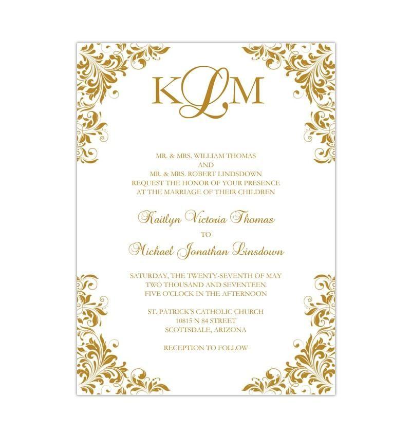 Kaitlyn Wedding Invitation Gold In 2020 Wedding Invitations Printable Templates Blank Wedding Invitation Templates Wedding Invitation Templates