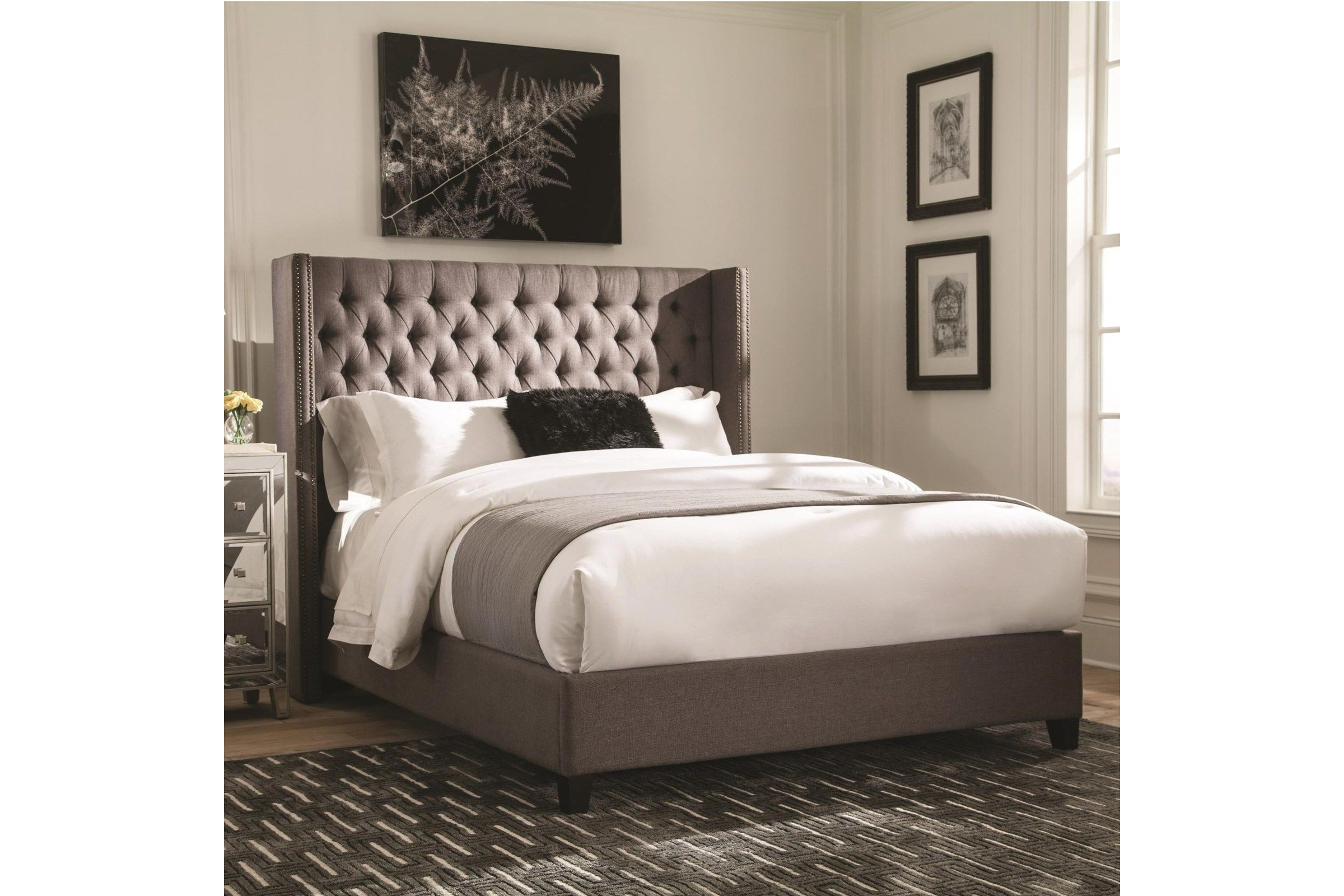 Scott Living Benicia Grey Upholstered Twin Bed Grey Upholstered