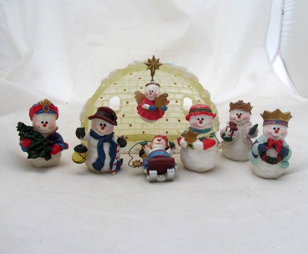 Snowman Angel Igloo Nativity Manger Scene Set Figure
