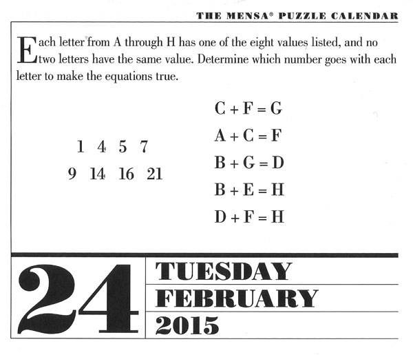 February 24th Mensa Brain Puzzler and answer! Check out the