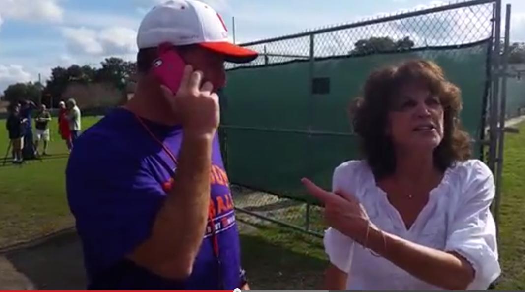 WATCH Alabama fan bombards Swinney after practice