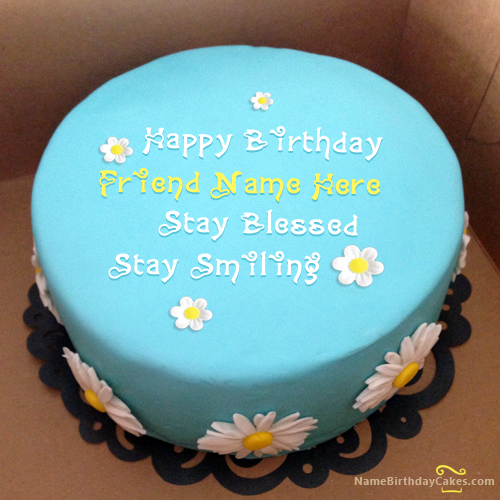 write name on Sky Blue Birthday Cake Friends picture HBD Cake