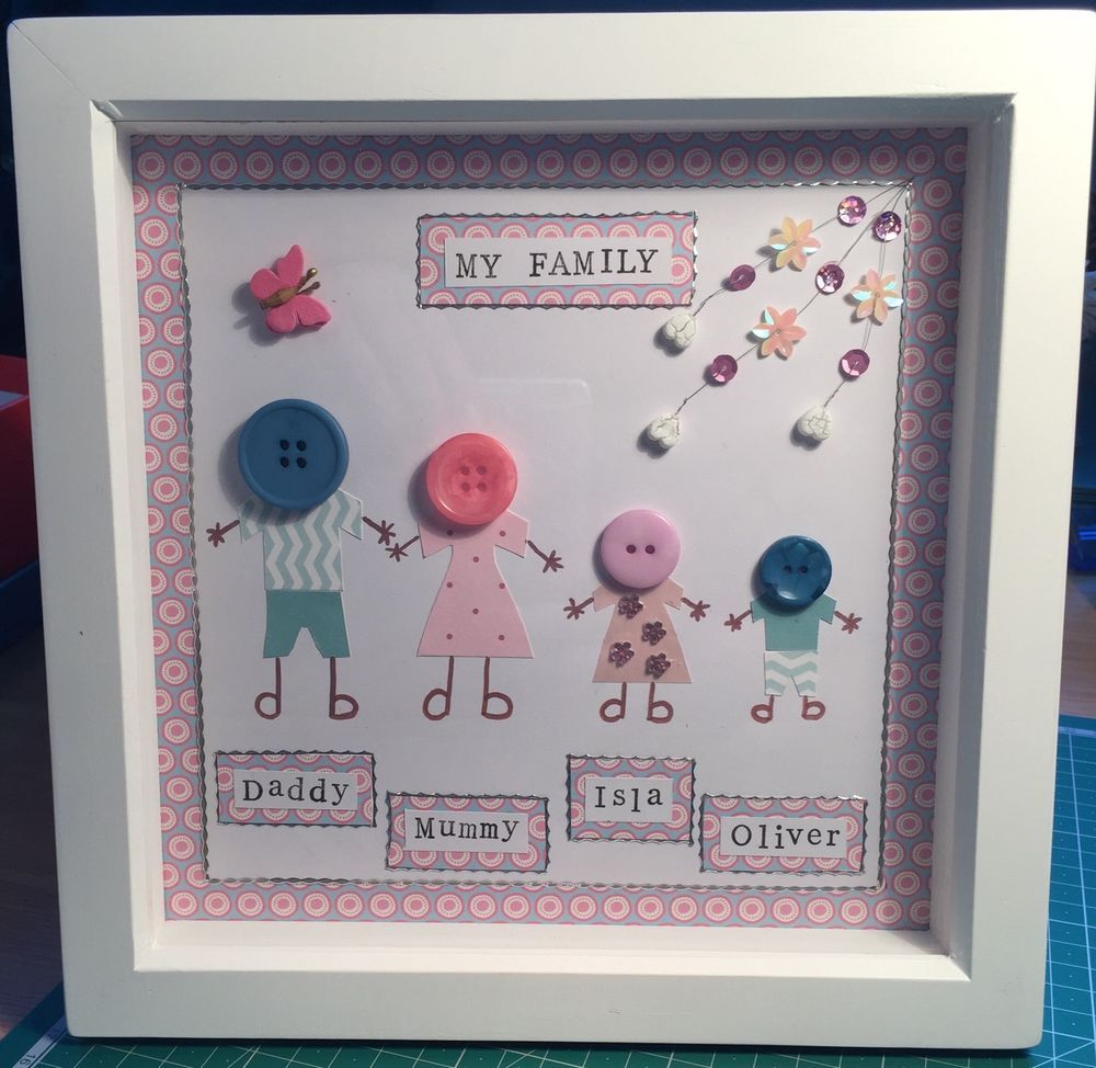 Handmade personalised button family framed picture ideal gift or ...