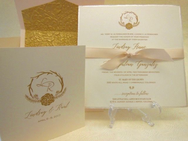 Blush And Gold Wedding Invitation With Shimmer Pearl Edge