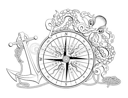 Compass With Anchor And Octopus Stock Vector C Volodymyr Rudych