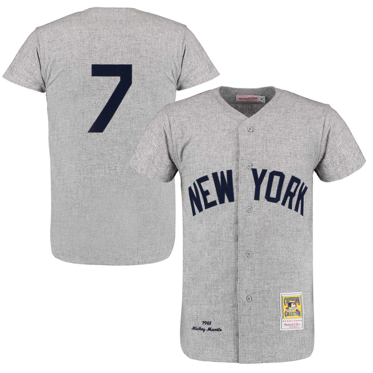 Men S New York Yankees Mickey Mantle Mitchell Ness Gray Throwback 1961 Authentic Jersey New York Yankees Yankees Gear Athletic Apparel