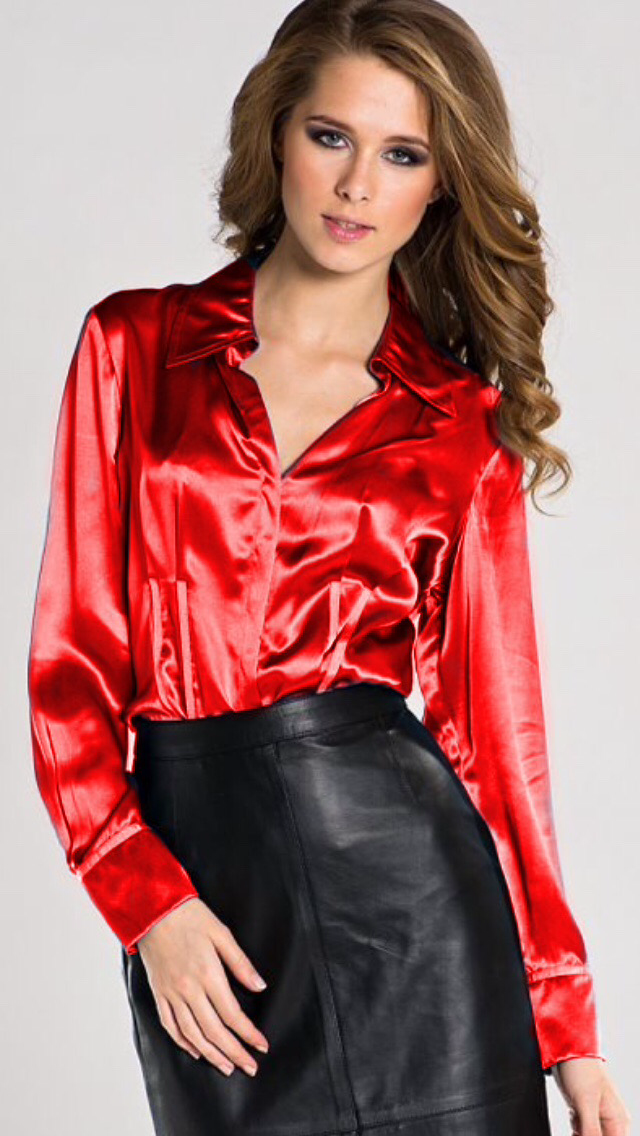 912b18c7f8 Black leather skirt and satin blouse | Leather in 2019 | Satin ...