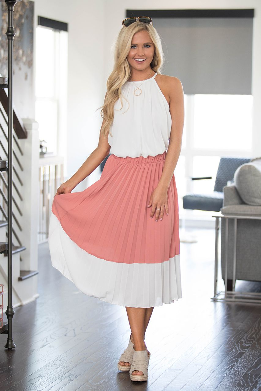 Delicate elegance colorblock skirt clearance pink lily southern