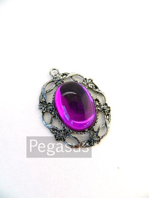 Orchid Purple  Acrylic Crystal Gem Cabochon Silver by pegasus22