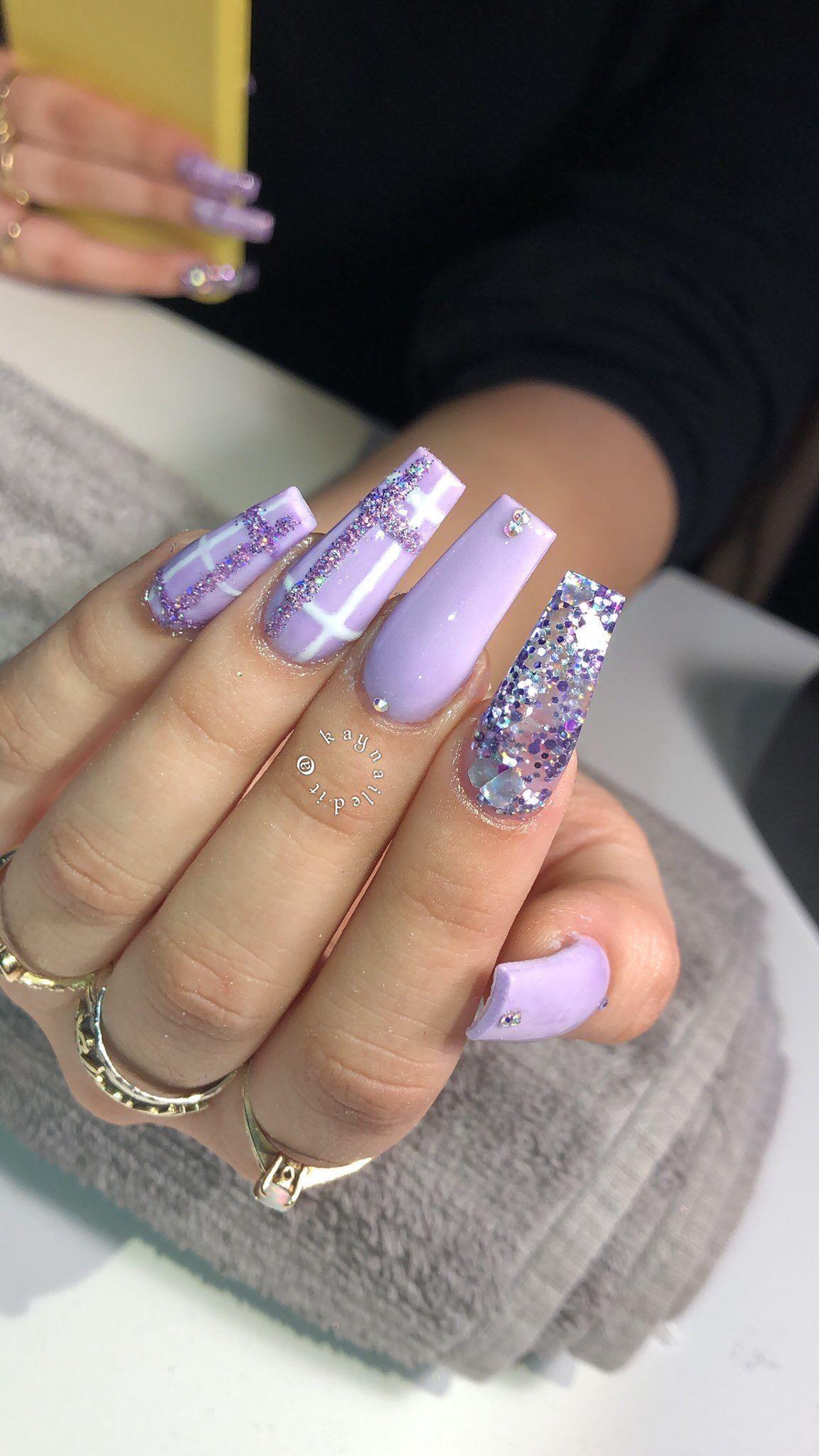 Pin By Harlem On Nail Inspo Cute Acrylic Nails Purple Nails Acrylic Nail Designs