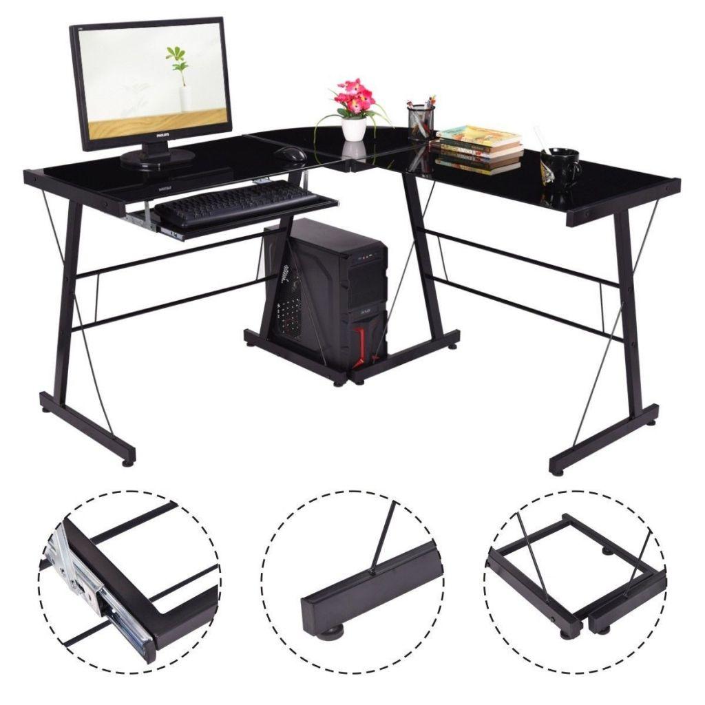 L Formige Glas Top Schreibtisch Home Office Mobel Sammlungen Buromobel Schreibtisch Mit Glasplatte Pc Schreibtisch Schreibtisch