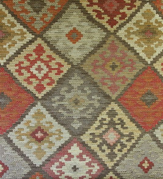 Kilim Check Upholstery Fabric Heavy Weight In The Style Of A Rug