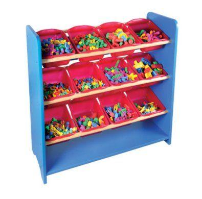 Juguetero con 12 charolas muebles para preescolar for Muebles para preescolar