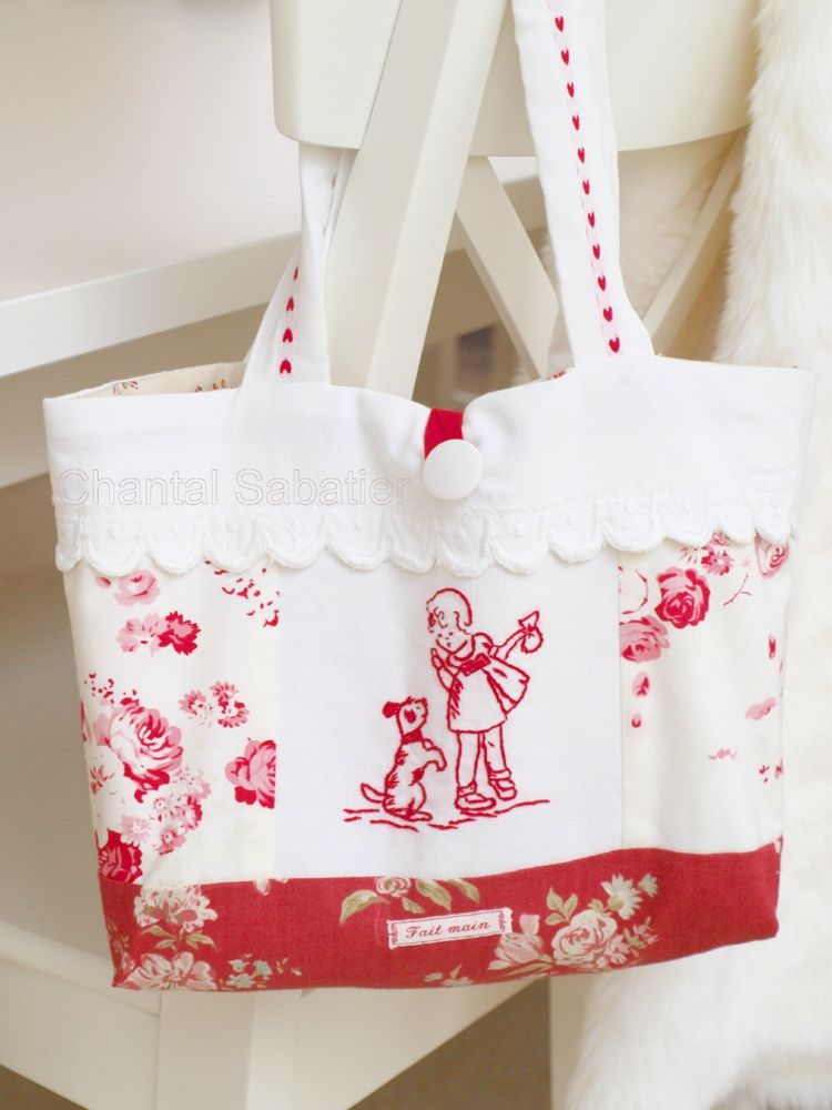 chantal bag red embroidery sabatier - also nice embroidery to follow ...