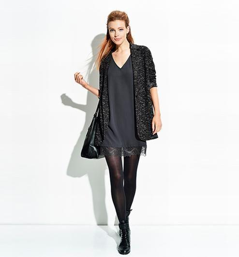 4001792ce1207 Veste longue femme imprimé noir - Promod   Idées style   Veste ...