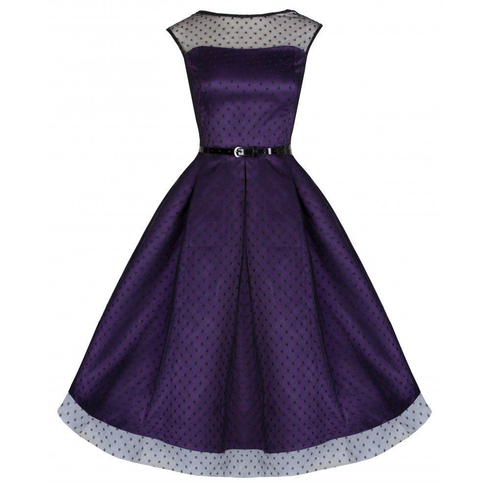 Aleena\' Stunning Russian Violet Polka Dot Vintage 50\'s Inspired Ball ...
