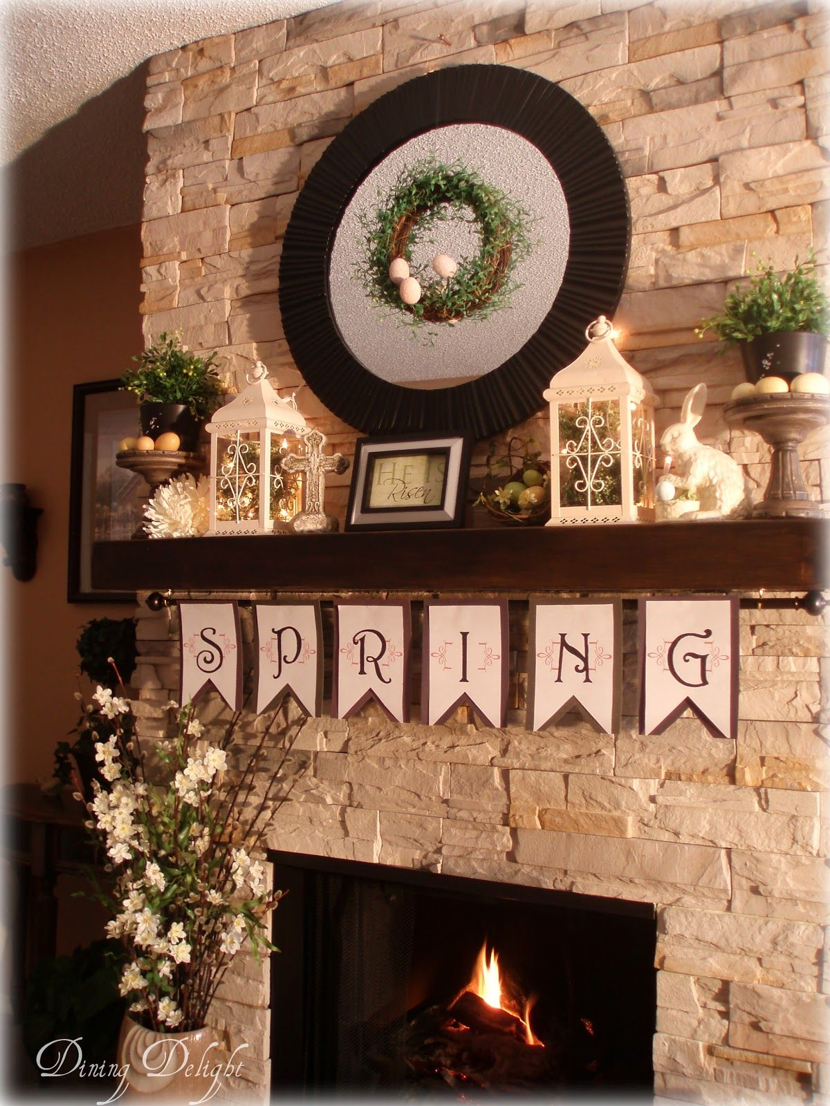 Easter Spring Mantel Ideas :: Attatch A Curtain Rod To The Underside Of The  Mantle.hang Spring Christmas Or Seasonal Decorations