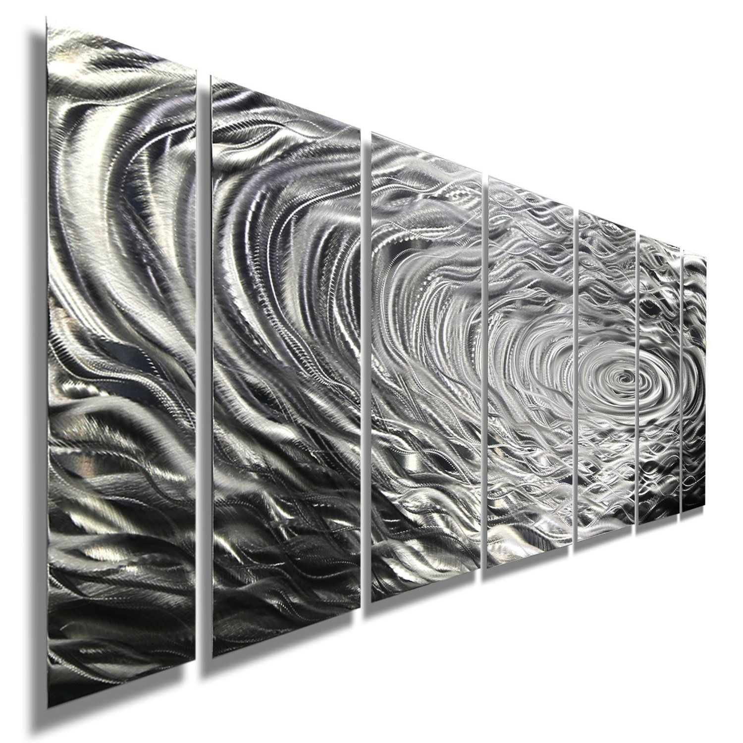 Large Black Metal Wall Art Amazon  Large Silver Water Inspired Metal Wall Art