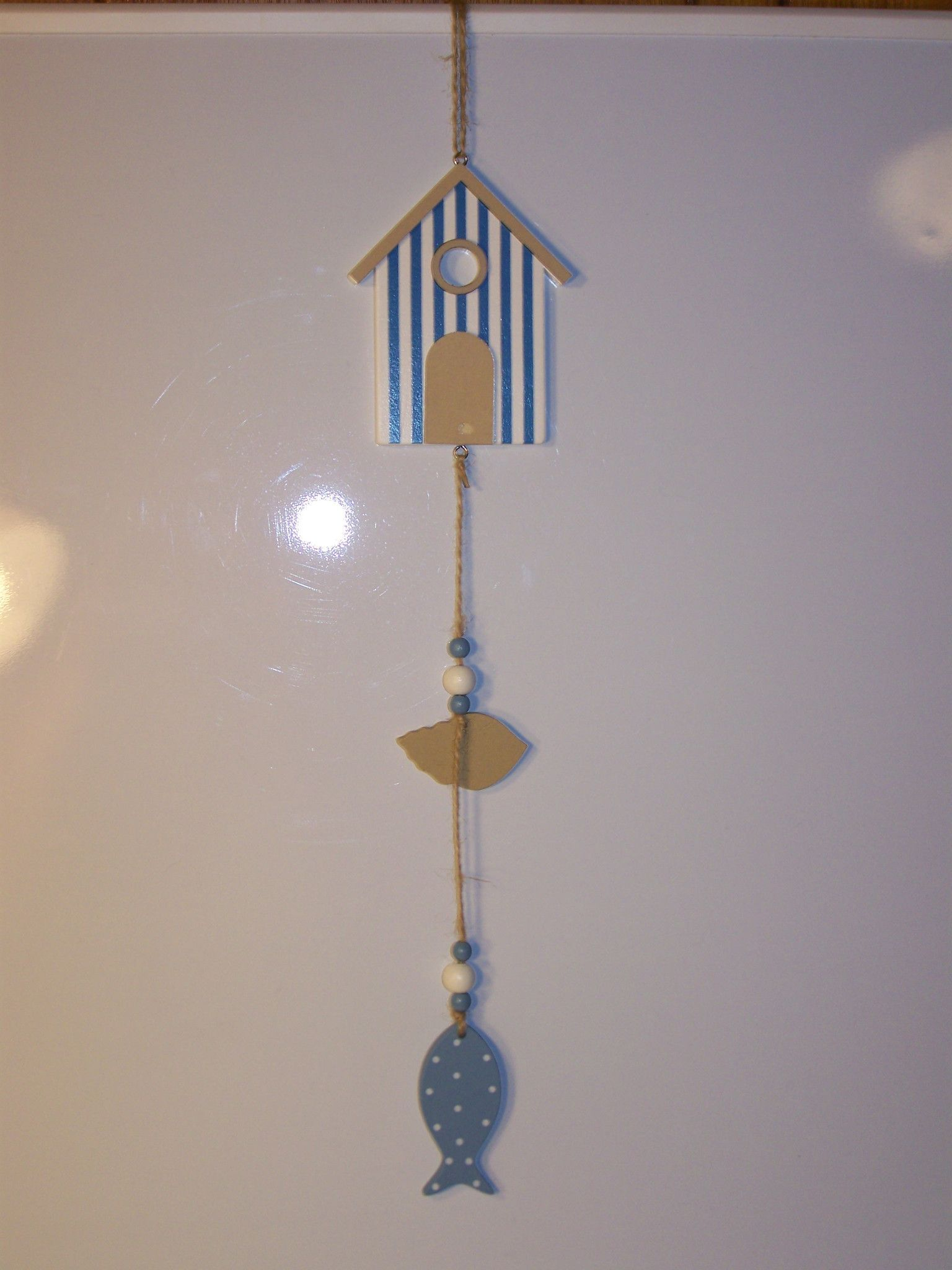 Wood House/Shell/Fish Hanging Ornament