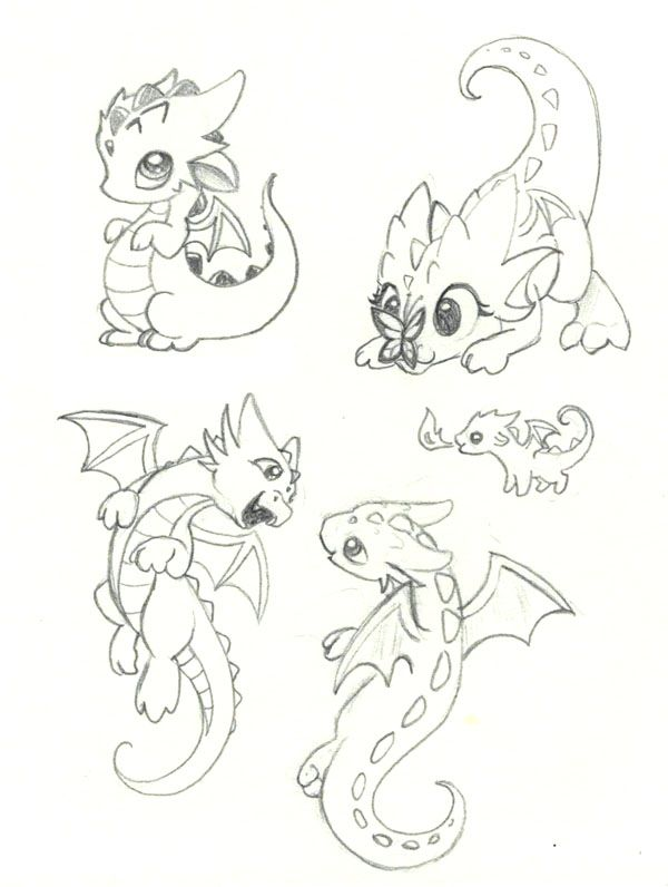 6 Just some playful kid dragons! :D … | Drawings for kids in 2018…
