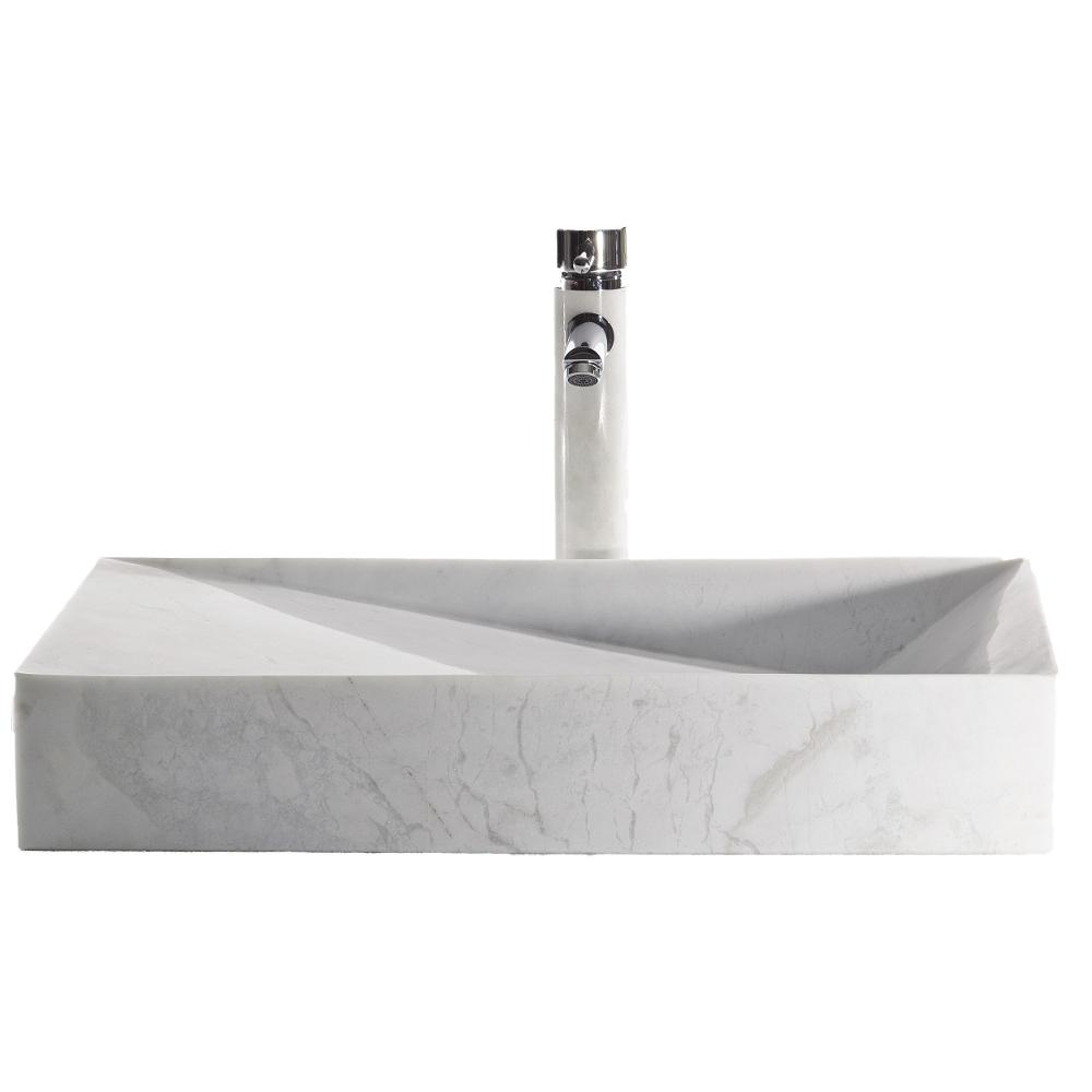 Eviva Slope China Vessel Sink In White With Overflow Drain Evsk21x15 Wh Stone The Home Depot Sink Vessel Sink Rectangular Sink Bathroom