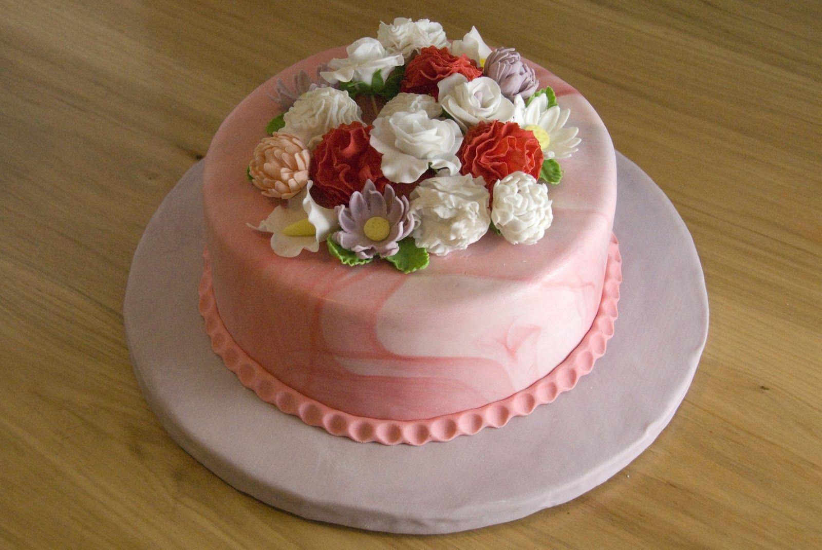 Fondant Flower Cake Night Baking 3rd Blogiversary Fondant Flower