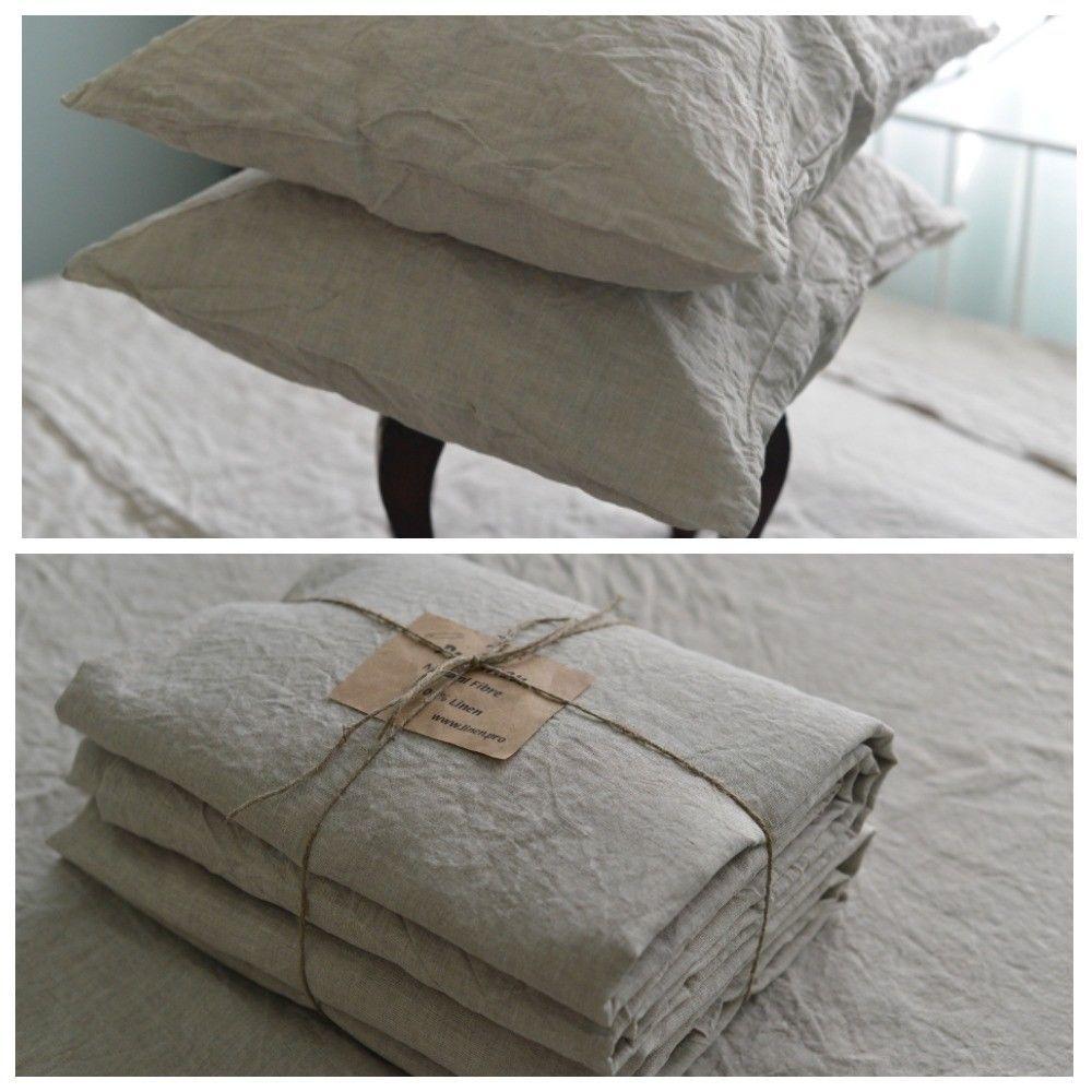 Leinentuch Set In Einer Natürlichen Grau Königin König Twin Leinen  Bettwäsche Set Luxus ECO #Bettwaren #geschenkideen #home #haus