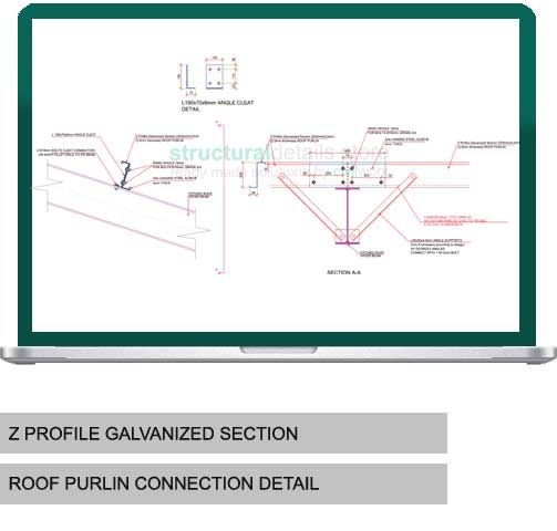 Z profile galvanized section roof purlin connection detail