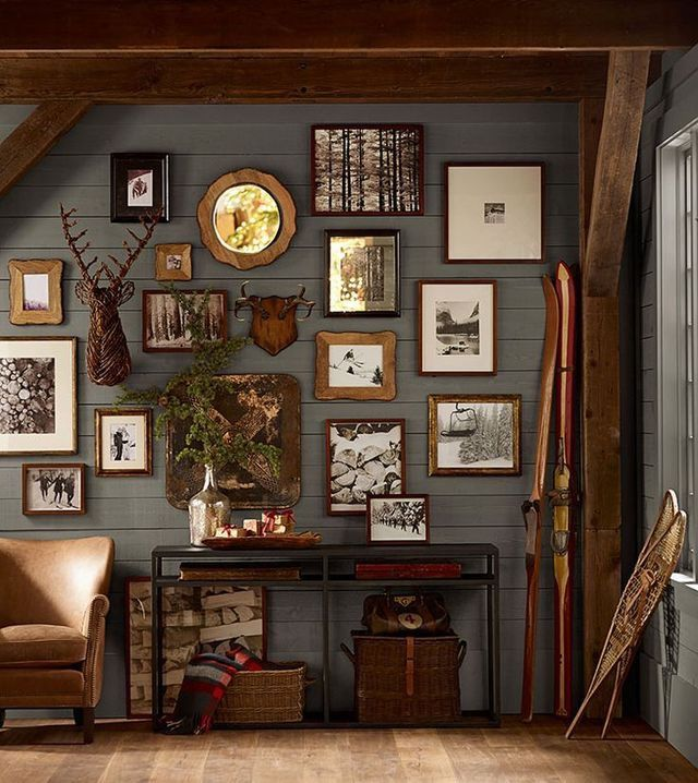 Ben S Office We Could Incorporate All His Hunting And Animal Mounts In A Gallery Wall Cabin Decor Cabin Style Lodge Decor