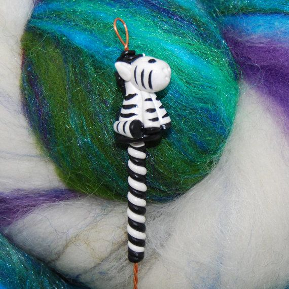 Zebra Spinning Wheel Orifice Hook Polymer Clay by TheClaySheep
