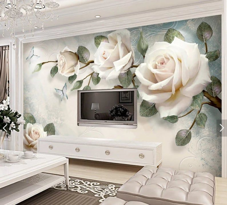 3d Wall Mural Flowers Wallpaper Mural Wallpaper For Etsy Wall Prints Living Room Wall Wallpaper Wall Murals