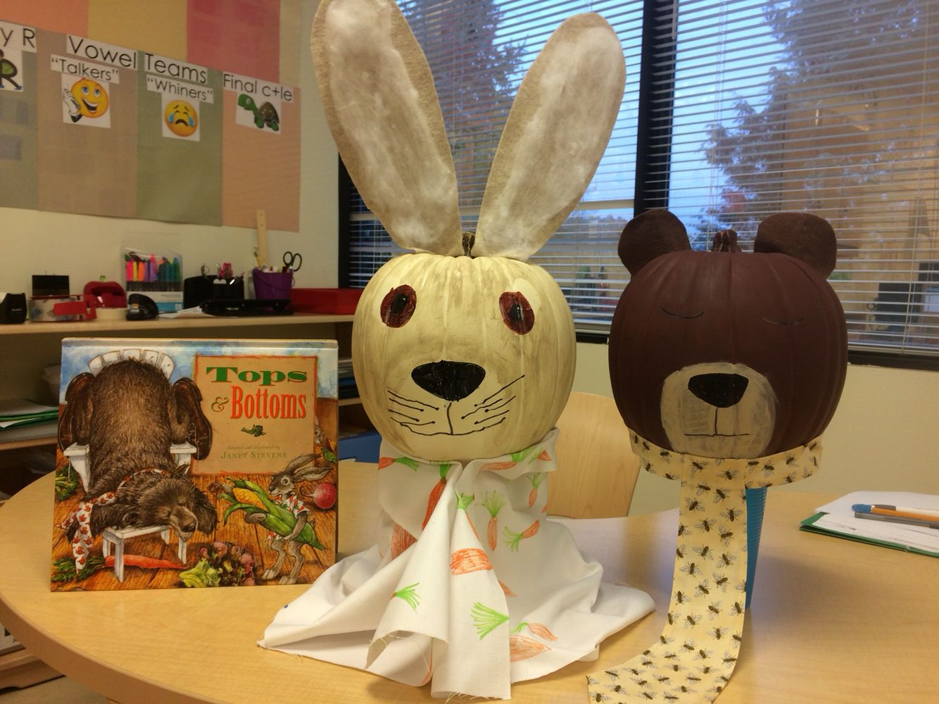 Hare And Bear Pumpkin Characters From The Book Tops And
