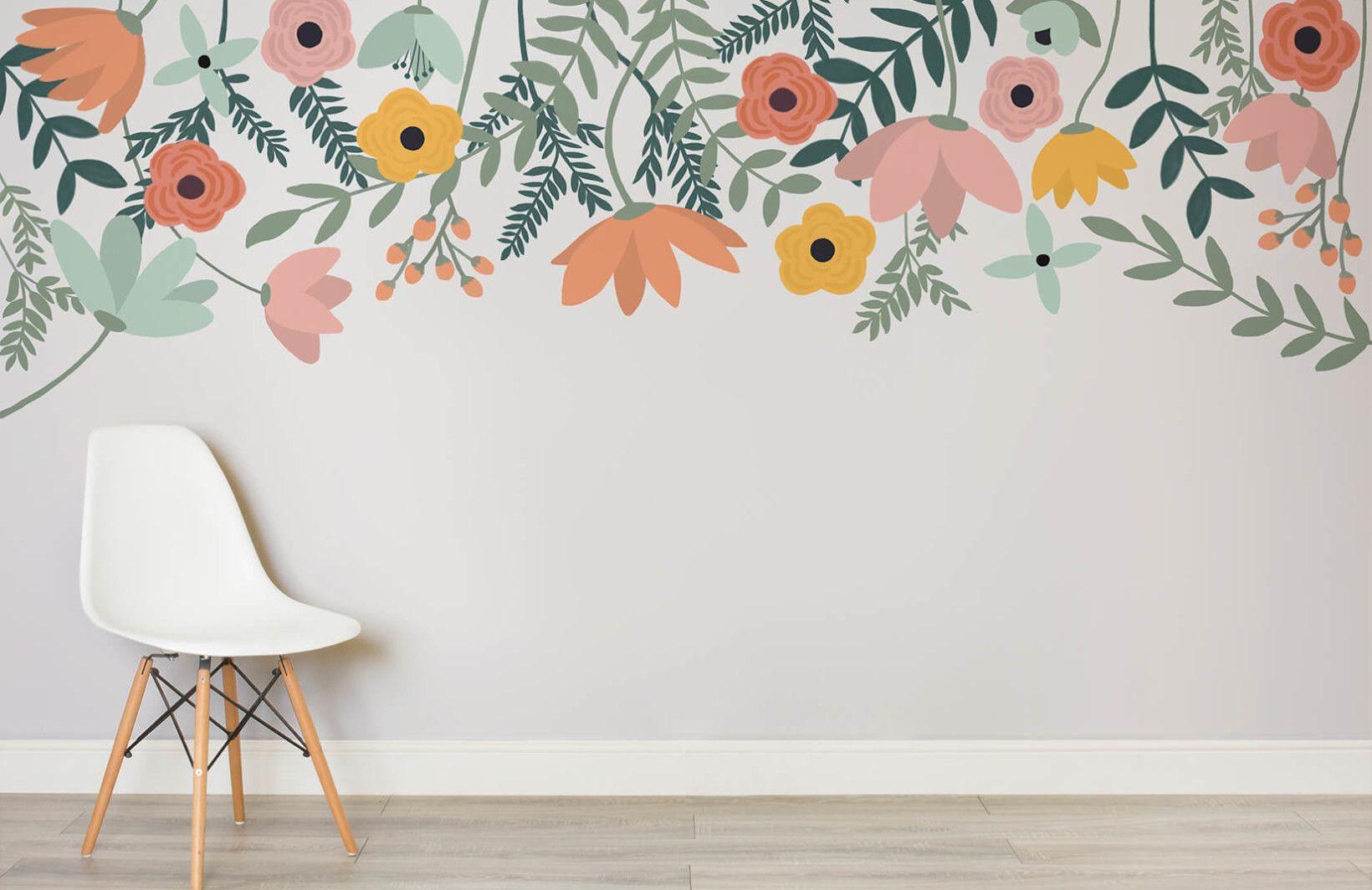 Flower Wallpaper Floral Wallpaper Murals Wallpaper Kids Wall Murals Kids Room Murals Wall Painting Decor