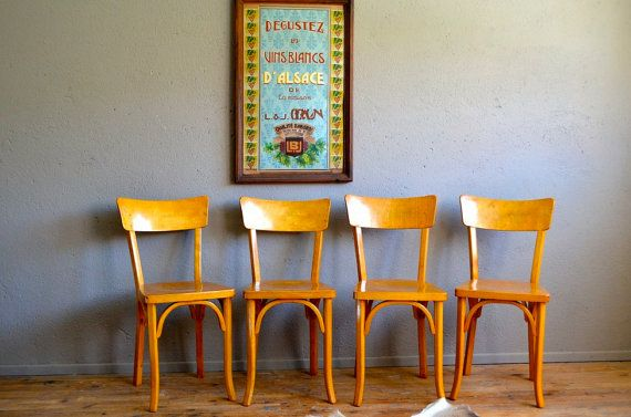 Chaises bistrot Baumann années 50 rétro rustique french furniture coffee chairs beech chairs mid century
