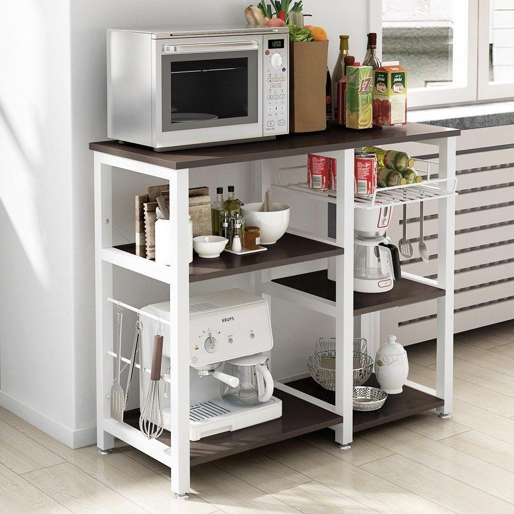 Modern 6 Shelf Kitchen Bakers Rack Microwave Oven Stand Storage Cart Workstation Bakersrack Microwavestand Ki Kitchen Rack Kitchen Storage Cart Storage Cart