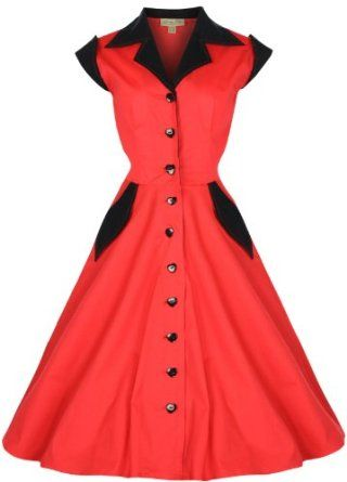 9fe95652a2f Amazon.com  Lindy Bop  Jeanette  Vintage 1950 s Rockabilly Shirt Dress   Clothing