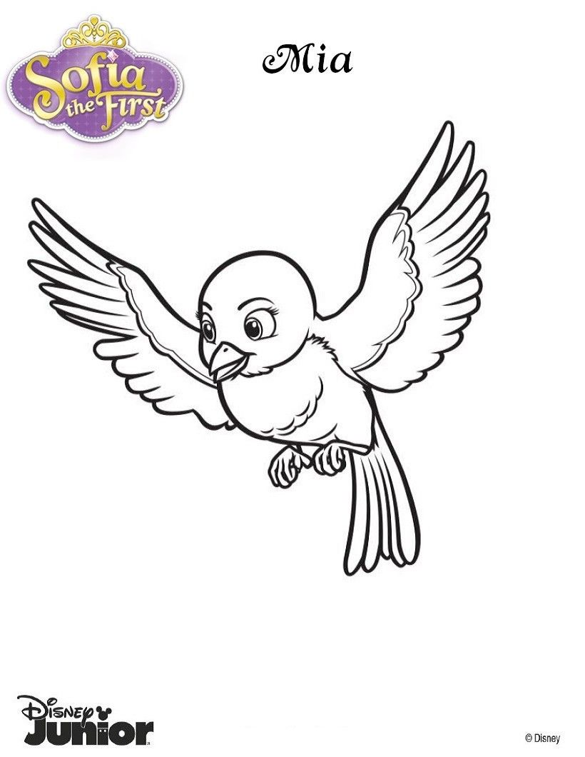 Sofia The First Coloring Pages Mia The Blue Bird Disney Coloring Pages Printables Bird Coloring Pages Animal Coloring Pages